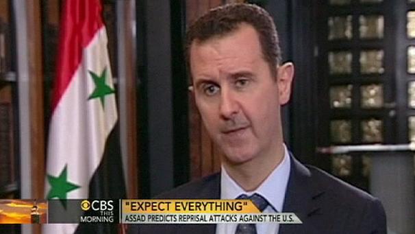 """en cas d'attaques? """"vous devez vous attendre à tout"""" répond froidement Bachar (capture écran CBS"""