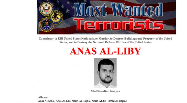 La fiche d'al Libi, pseudos, renseignements, crimes pour lesquels il est suspecté.